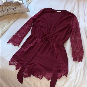 Nasty Gal Cotton Candy Burgundy Lace Romper